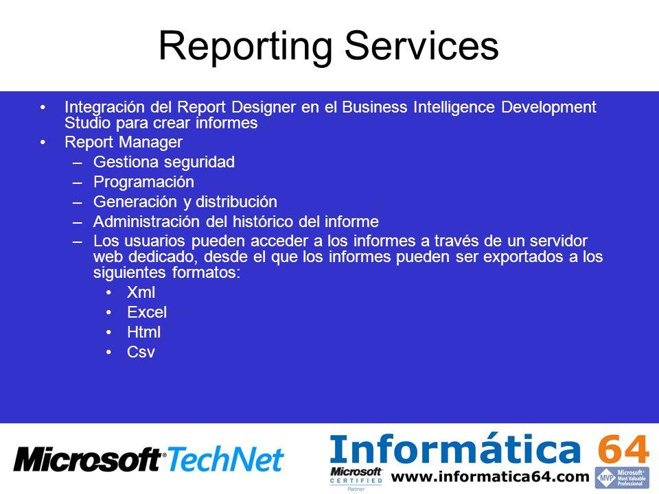 Reporting Services Integración del Report Designer en el Business Intelligence Development Studio para crear informes Report Manager –Gestiona segurid