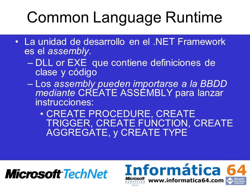 Common Language Runtime La unidad de desarrollo en el.NET Framework es el assembly. –DLL or EXE que contiene definiciones de clase y código –Los assem
