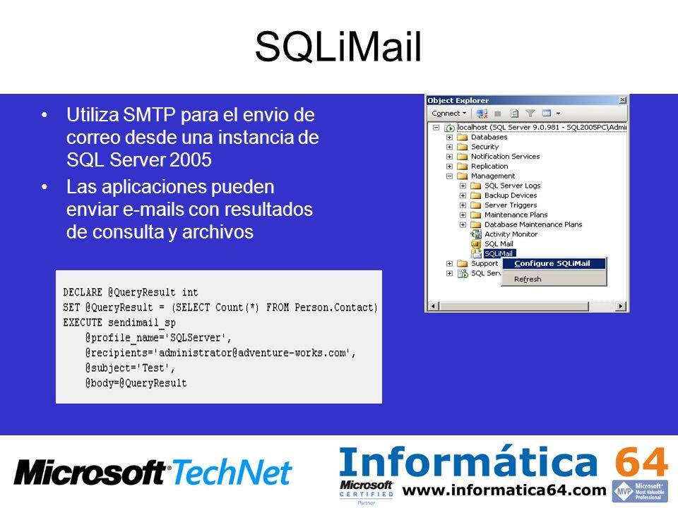 SQLiMail Utiliza SMTP para el envio de correo desde una instancia de SQL Server 2005 Las aplicaciones pueden enviar e-mails con resultados de consulta