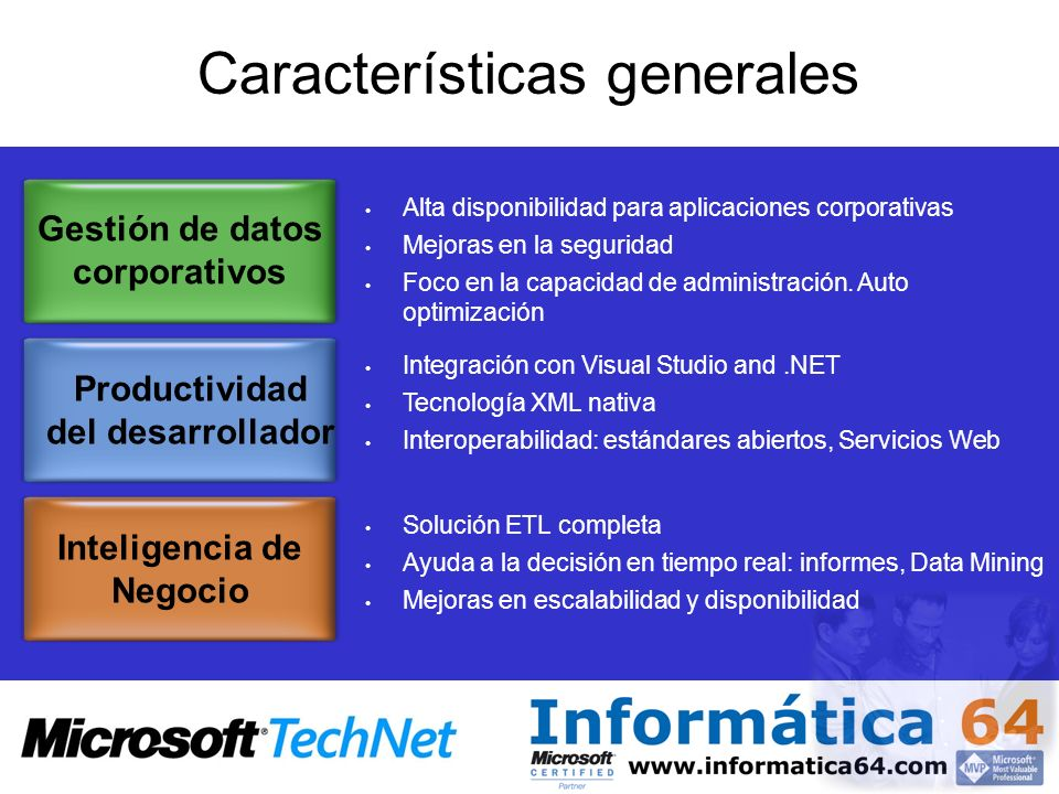 Componentes SQL Server 2005 Relational Database Engine.NET CLR Analysis Services Native HTTP Support Service Broker Replication Reporting Services Full-Text Search Notification Services SQL Server Integration Services