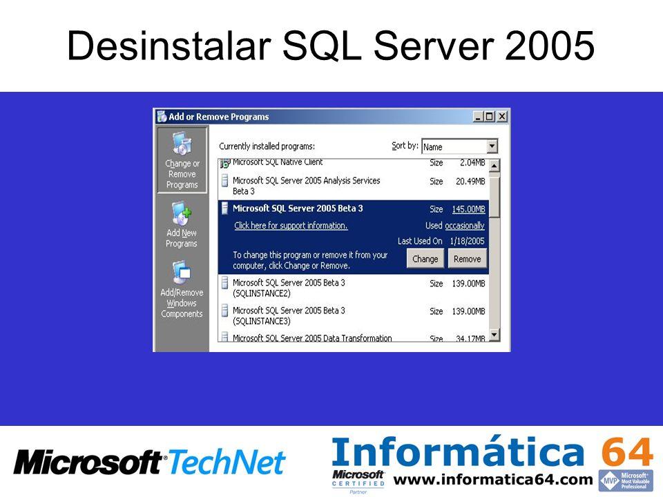 Desinstalar SQL Server 2005
