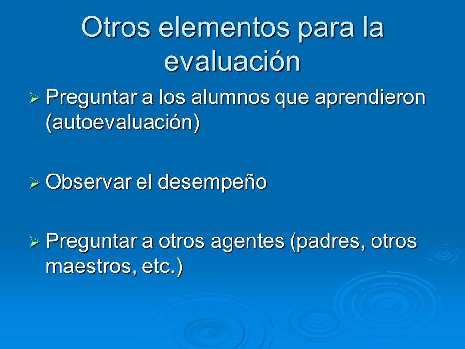 Resultados de la evaluación (información) ¿Qué aprendieron los alumnos.