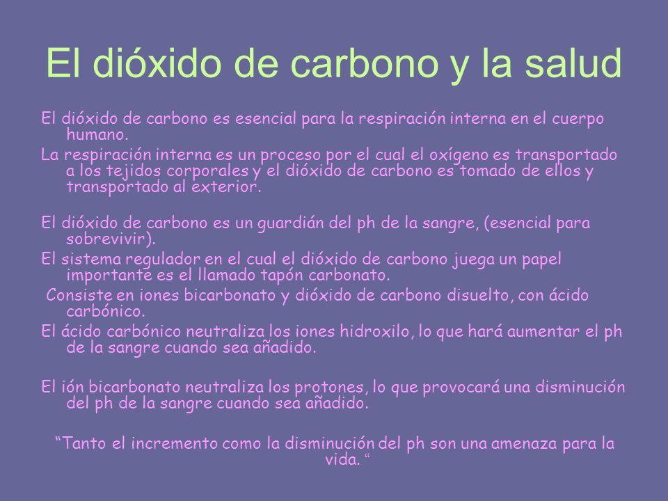 El dióxido de carbono y la salud El dióxido de carbono es esencial para la respiración interna en el cuerpo humano. La respiración interna es un proce