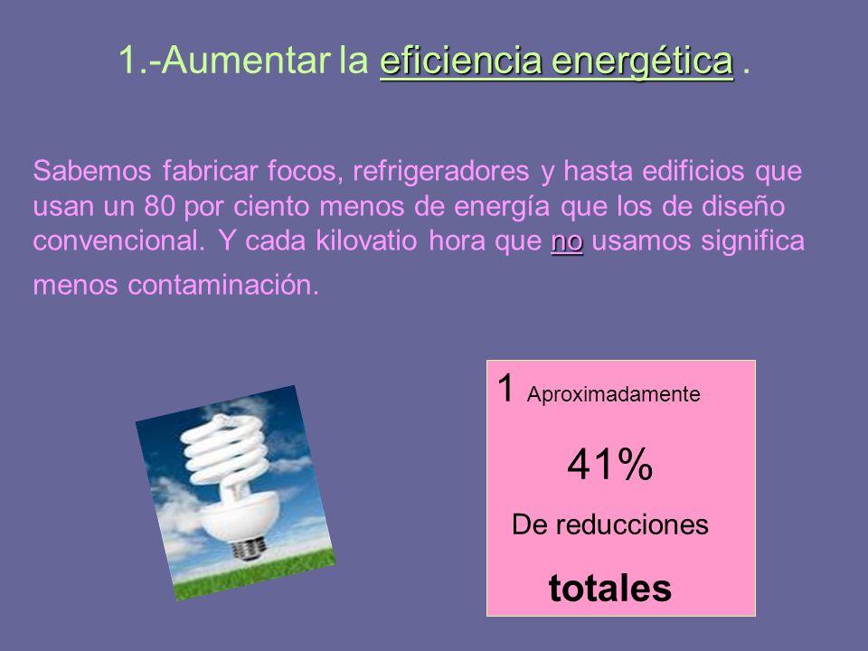 eficiencia energética 1.-Aumentar la eficiencia energética. no Sabemos fabricar focos, refrigeradores y hasta edificios que usan un 80 por ciento meno