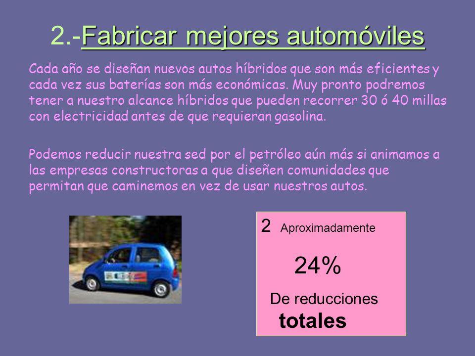 Fabricar mejores automóviles 2.-Fabricar mejores automóviles Cada año se diseñan nuevos autos híbridos que son más eficientes y cada vez sus baterías