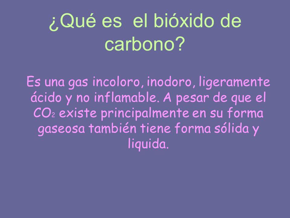 ¿Qué es el bióxido de carbono? Es una gas incoloro, inodoro, ligeramente ácido y no inflamable. A pesar de que el CO 2 existe principalmente en su for