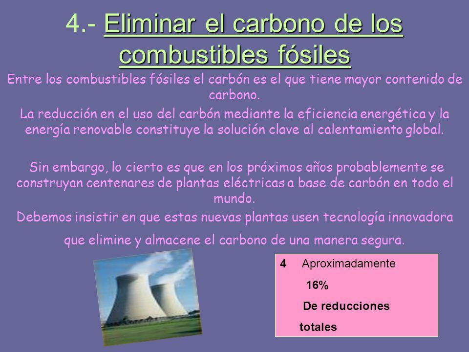 Eliminar el carbono de los combustibles fósiles 4.- Eliminar el carbono de los combustibles fósiles Entre los combustibles fósiles el carbón es el que
