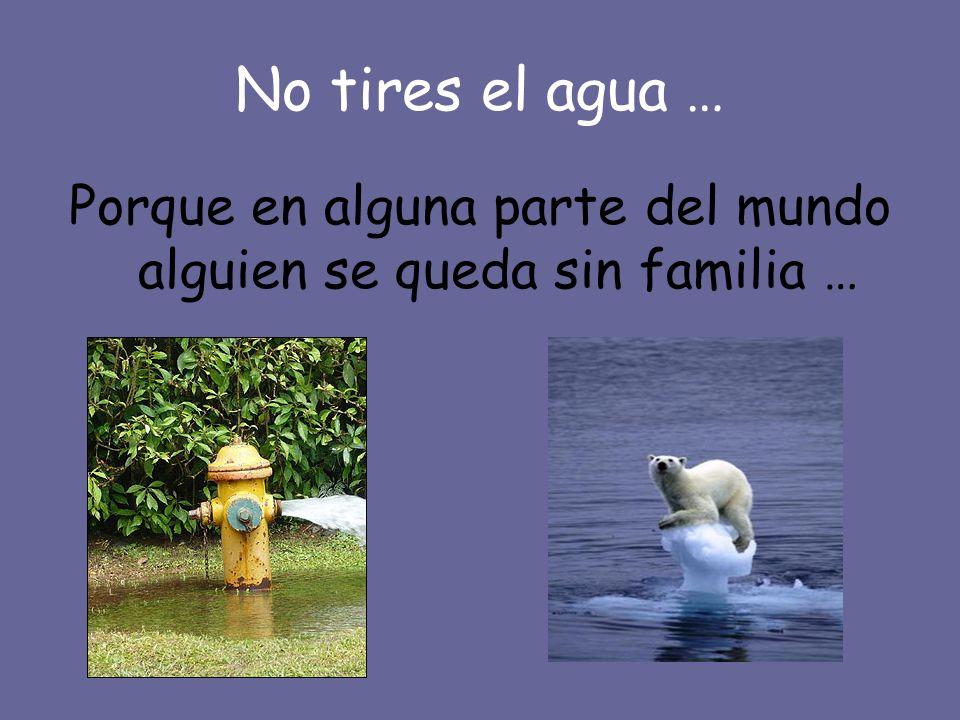 No tires el agua … Porque en alguna parte del mundo alguien se queda sin familia …