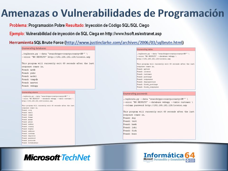 Ejemplo: Vulnerabilidad de inyección de SQL Ciega en http://www.hsoft.es/extranet.asp Problema: Programación Pobre Resultado: Inyección de Código SQL/SQL Ciego