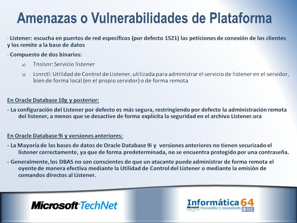 Amenazas o Vulnerabilidades de Plataforma