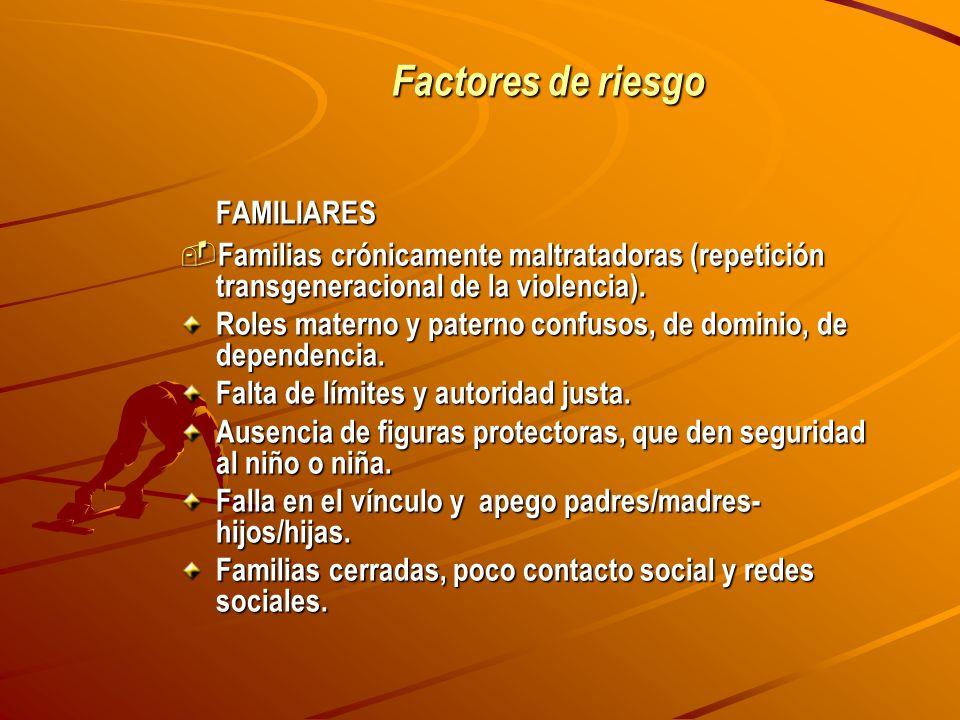 Factores de riesgo FAMILIARES Familias crónicamente maltratadoras (repetición transgeneracional de la violencia). Familias crónicamente maltratadoras