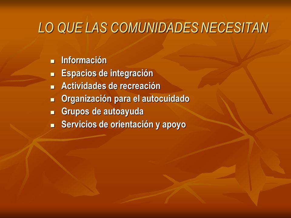 LO QUE LAS COMUNIDADES NECESITAN Información Información Espacios de integración Espacios de integración Actividades de recreación Actividades de recr
