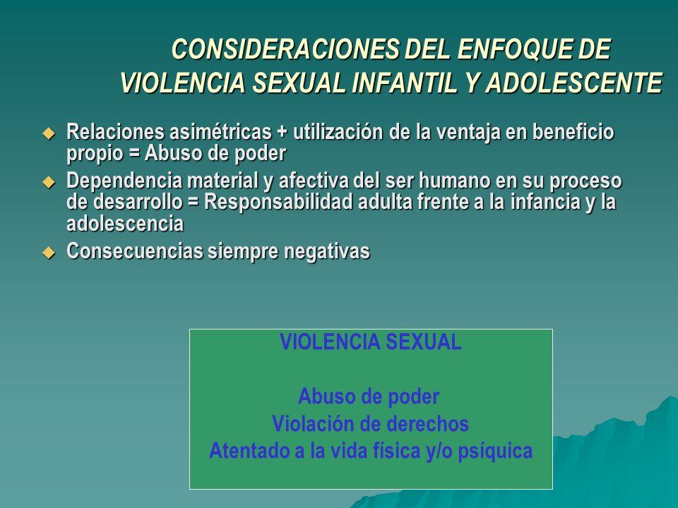 CONSIDERACIONES DEL ENFOQUE DE VIOLENCIA SEXUAL INFANTIL Y ADOLESCENTE Relaciones asimétricas + utilización de la ventaja en beneficio propio = Abuso