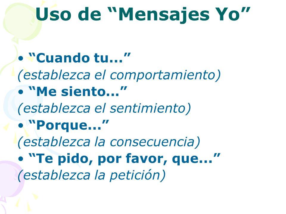 Uso de Mensajes Yo Cuando tu... (establezca el comportamiento) Me siento... (establezca el sentimiento) Porque... (establezca la consecuencia) Te pido
