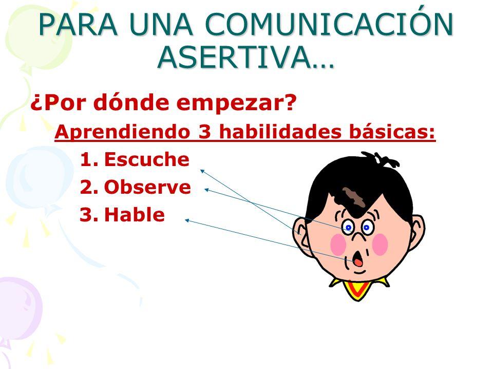 PARA UNA COMUNICACIÓN ASERTIVA… ¿Por dónde empezar? Aprendiendo 3 habilidades básicas: 1.Escuche 2.Observe 3.Hable