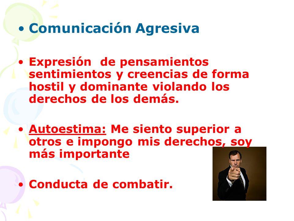 Comunicación Agresiva Expresión de pensamientos sentimientos y creencias de forma hostil y dominante violando los derechos de los demás. Autoestima: M