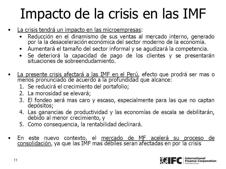 11 Impacto de la crisis en las IMF La crisis tendrá un impacto en las microempresas: Reducción en el dinamismo de sus ventas al mercado interno, generado por la la desaceleración económica del sector moderno de la economía.