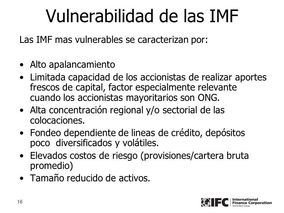 16 Vulnerabilidad de las IMF Las IMF mas vulnerables se caracterizan por: Alto apalancamiento Limitada capacidad de los accionistas de realizar aportes frescos de capital, factor especialmente relevante cuando los accionistas mayoritarios son ONG.