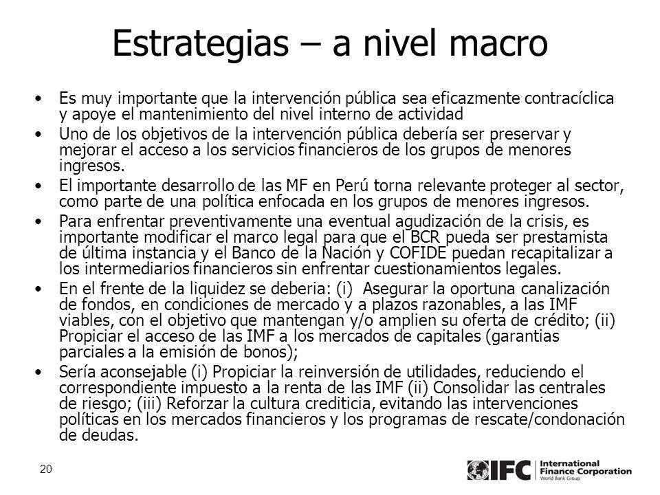 20 Estrategias – a nivel macro Es muy importante que la intervención pública sea eficazmente contracíclica y apoye el mantenimiento del nivel interno de actividad Uno de los objetivos de la intervención pública debería ser preservar y mejorar el acceso a los servicios financieros de los grupos de menores ingresos.