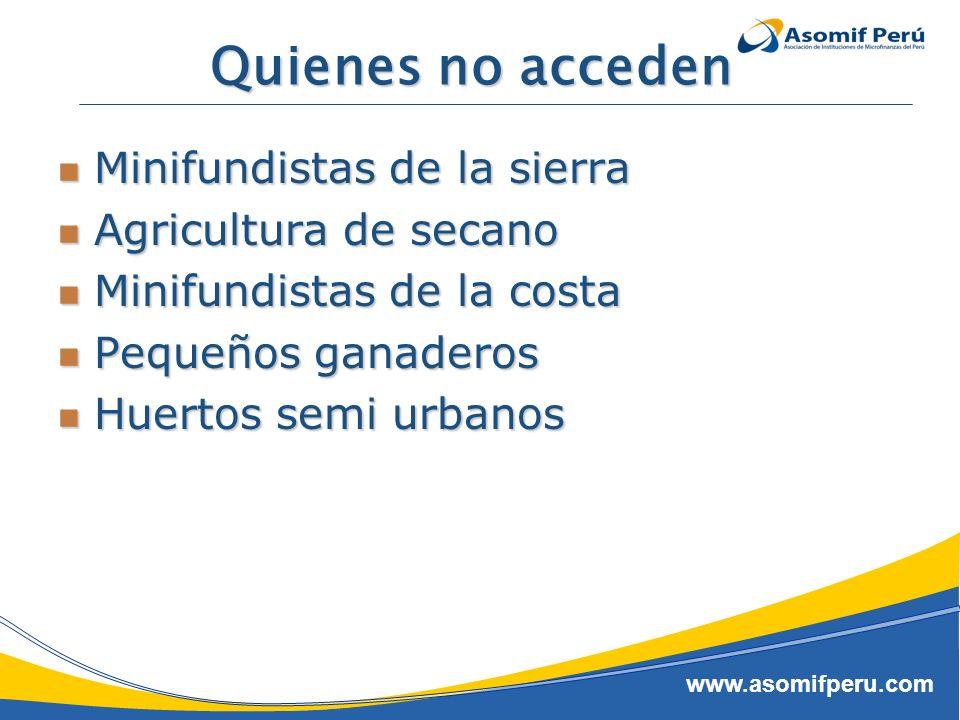 www.asomifperu.com Quienes no acceden Minifundistas de la sierra Minifundistas de la sierra Agricultura de secano Agricultura de secano Minifundistas