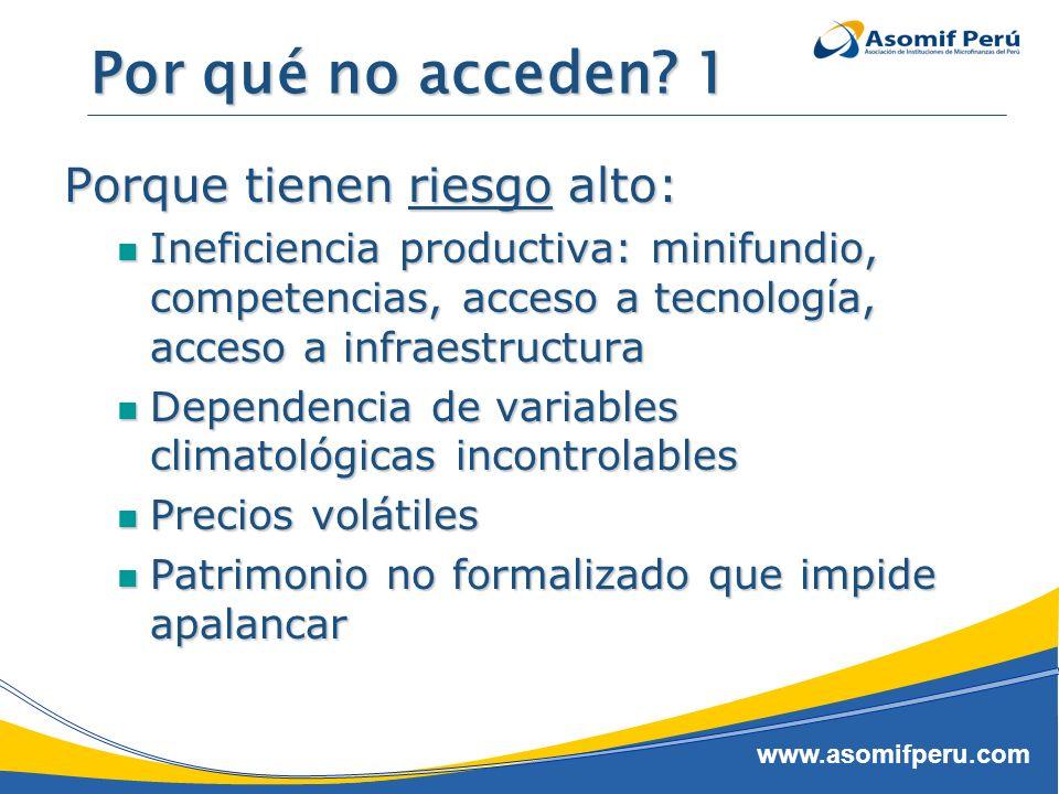www.asomifperu.com Por qué no acceden? 1 Porque tienen riesgo alto: Ineficiencia productiva: minifundio, competencias, acceso a tecnología, acceso a i