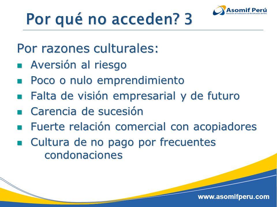 www.asomifperu.com Por qué no acceden? 3 Por razones culturales: Aversión al riesgo Aversión al riesgo Poco o nulo emprendimiento Poco o nulo emprendi