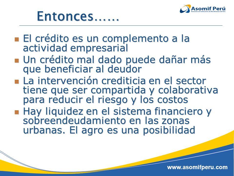 www.asomifperu.com Entonces…… El crédito es un complemento a la actividad empresarial El crédito es un complemento a la actividad empresarial Un crédi