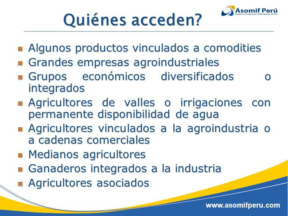 www.asomifperu.com Quiénes acceden? Algunos productos vinculados a comodities Algunos productos vinculados a comodities Grandes empresas agroindustria
