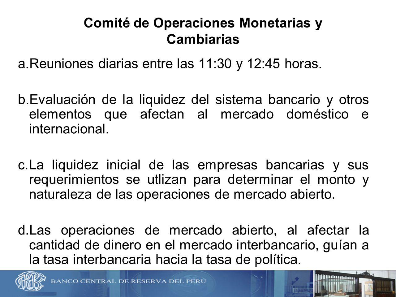 Comité de Operaciones Monetarias y Cambiarias a.Reuniones diarias entre las 11:30 y 12:45 horas. b.Evaluación de la liquidez del sistema bancario y ot