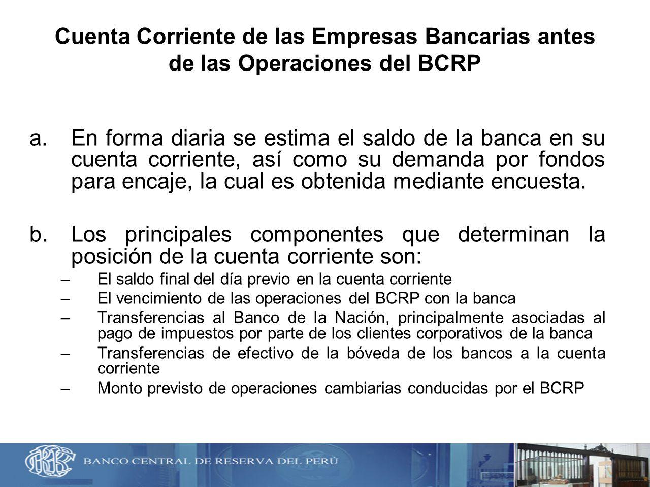Cuenta Corriente de las Empresas Bancarias antes de las Operaciones del BCRP a.En forma diaria se estima el saldo de la banca en su cuenta corriente,