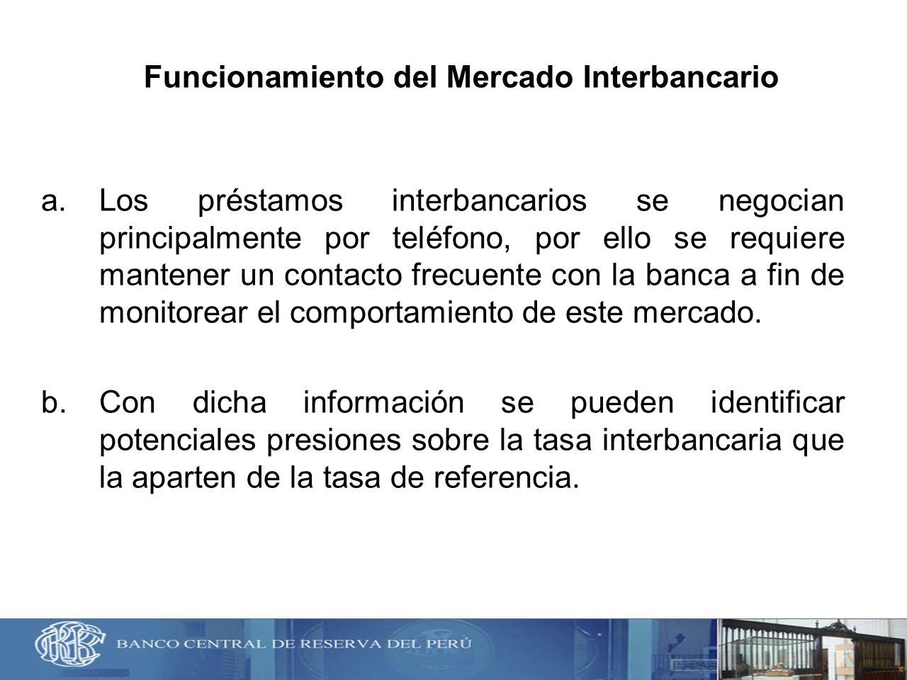 Funcionamiento del Mercado Interbancario a.Los préstamos interbancarios se negocian principalmente por teléfono, por ello se requiere mantener un cont