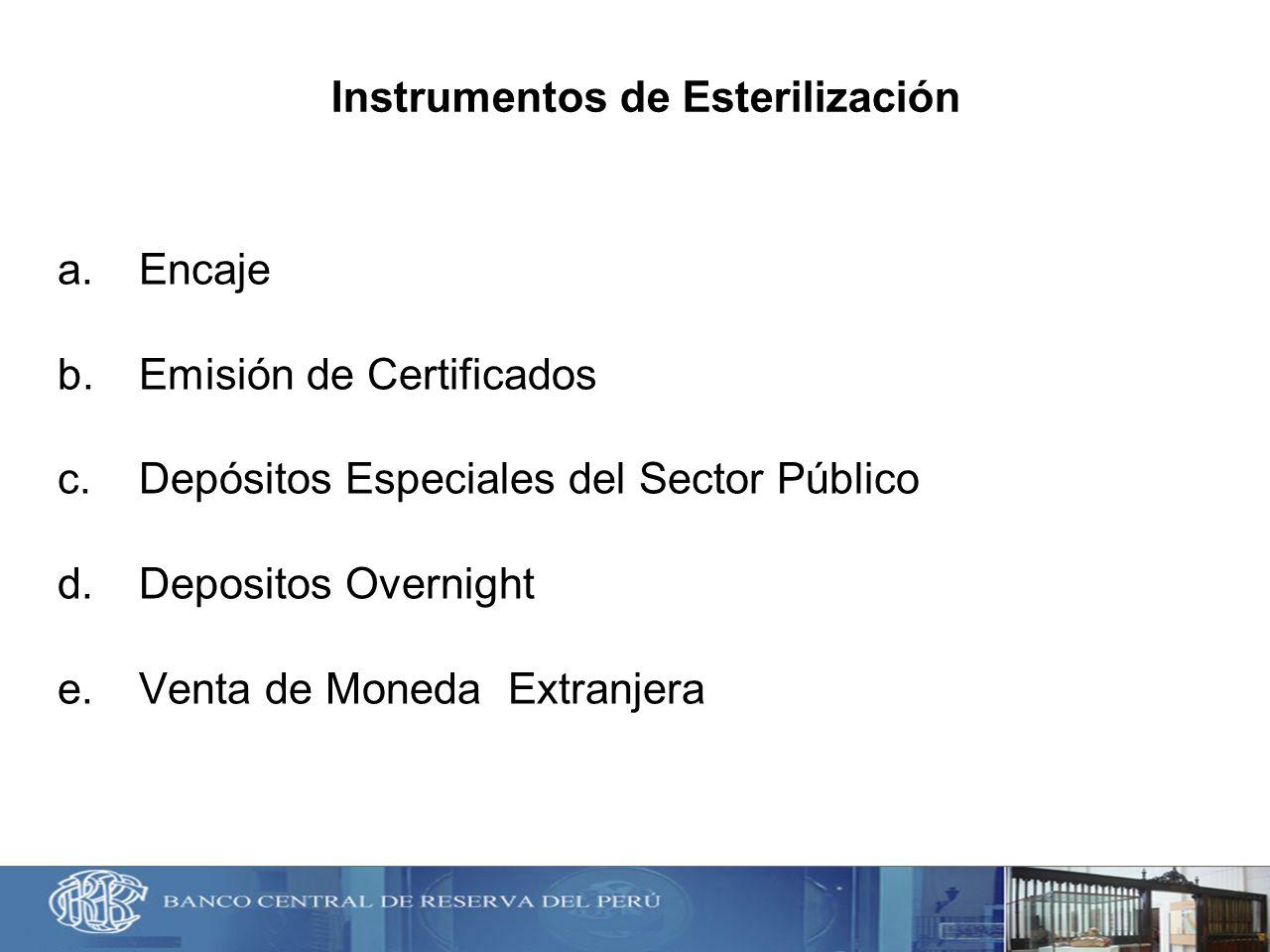 Instrumentos de Esterilización a.Encaje b.Emisión de Certificados c.Depósitos Especiales del Sector Público d.Depositos Overnight e.Venta de Moneda Ex