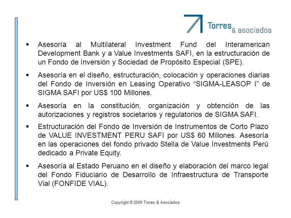 Copyright ® 2009 Torres & Asociados Asesoría al Multilateral Investment Fund del Interamerican Development Bank y a Value Investments SAFI, en la estr