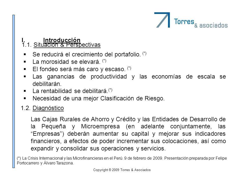 Copyright ® 2009 Torres & Asociados I.Introducción Se reducirá el crecimiento del portafolio. (*) La morosidad se elevará. (*) El fondeo será más caro