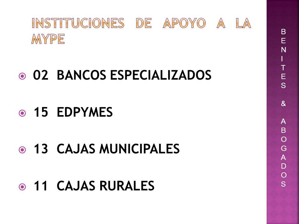 02 BANCOS ESPECIALIZADOS 15 EDPYMES 13 CAJAS MUNICIPALES 11 CAJAS RURALES BENITES&ABOGADOSBENITES&ABOGADOS