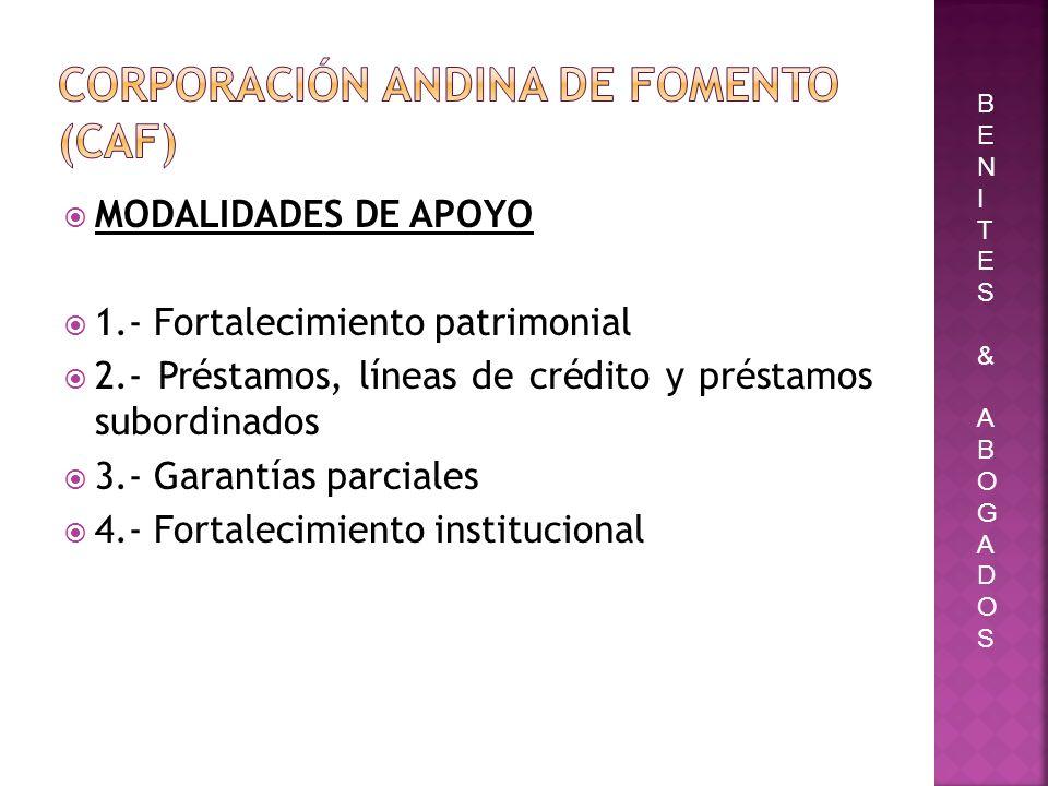 MODALIDADES DE APOYO 1.- Fortalecimiento patrimonial 2.- Préstamos, líneas de crédito y préstamos subordinados 3.- Garantías parciales 4.- Fortalecimi