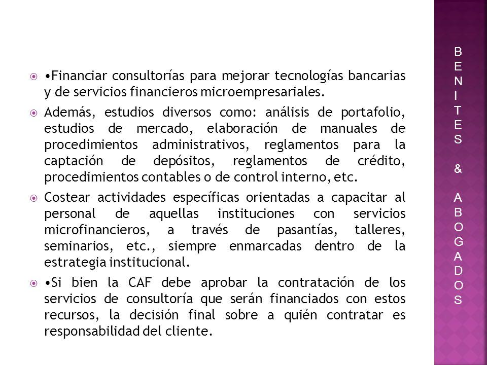Financiar consultorías para mejorar tecnologías bancarias y de servicios financieros microempresariales. Además, estudios diversos como: análisis de p