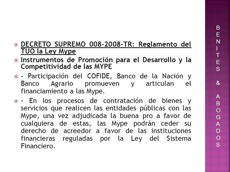 DECRETO SUPREMO 008-2008-TR: Reglamento del TUO la Ley Mype Instrumentos de Promoción para el Desarrollo y la Competitividad de las MYPE - Participaci