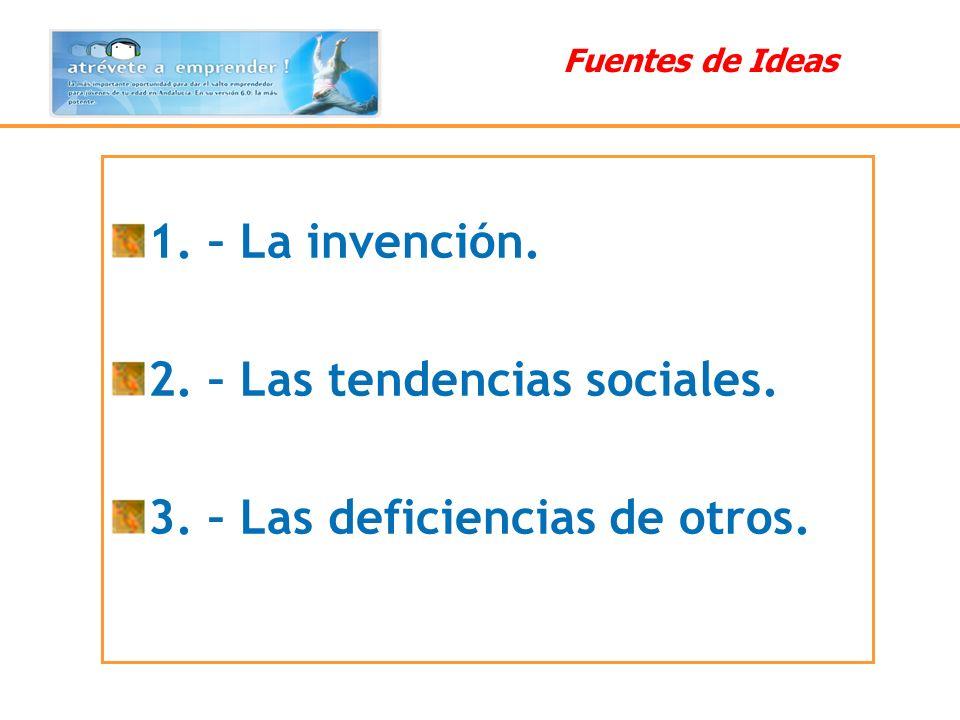Fuentes de Ideas 1. – La invención. 2. – Las tendencias sociales. 3. – Las deficiencias de otros.