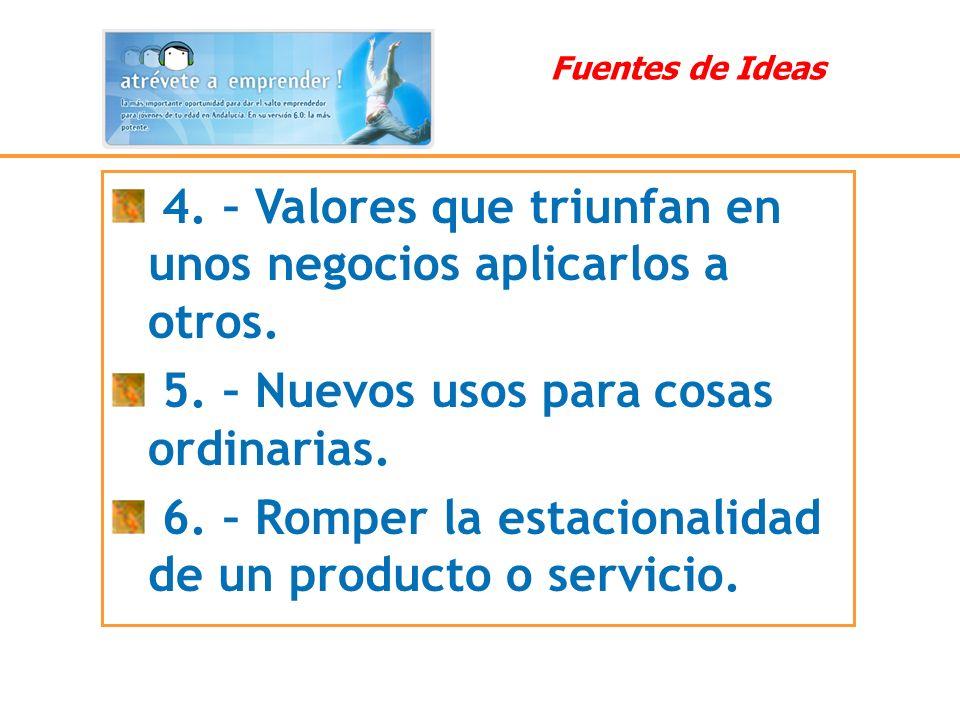 4. – Valores que triunfan en unos negocios aplicarlos a otros. 5. – Nuevos usos para cosas ordinarias. 6. – Romper la estacionalidad de un producto o