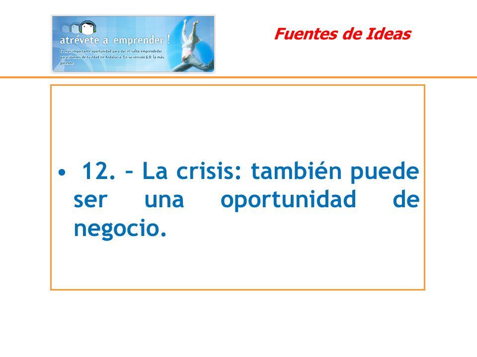 12. – La crisis: también puede ser una oportunidad de negocio. Fuentes de Ideas
