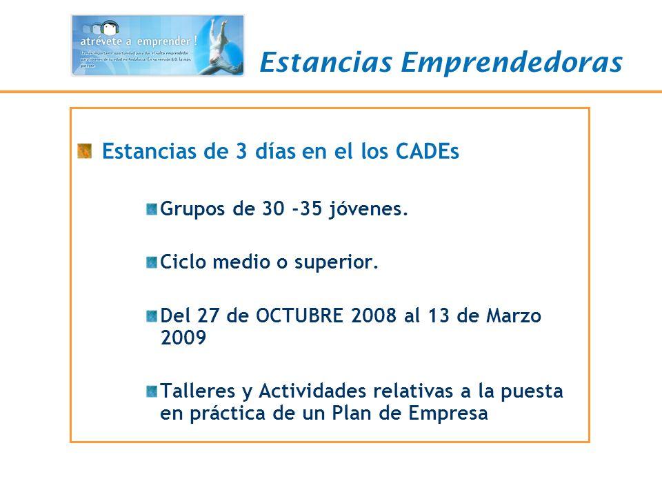 Estancias Emprendedoras Estancias de 3 días en el los CADEs Grupos de 30 -35 jóvenes. Ciclo medio o superior. Del 27 de OCTUBRE 2008 al 13 de Marzo 20