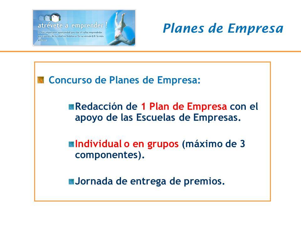 Concurso de Planes de Empresa: Redacción de 1 Plan de Empresa con el apoyo de las Escuelas de Empresas. Individual o en grupos (máximo de 3 componente