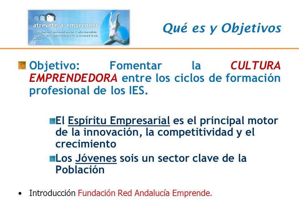 Objetivo: Fomentar la CULTURA EMPRENDEDORA entre los ciclos de formación profesional de los IES. El Espíritu Empresarial es el principal motor de la i