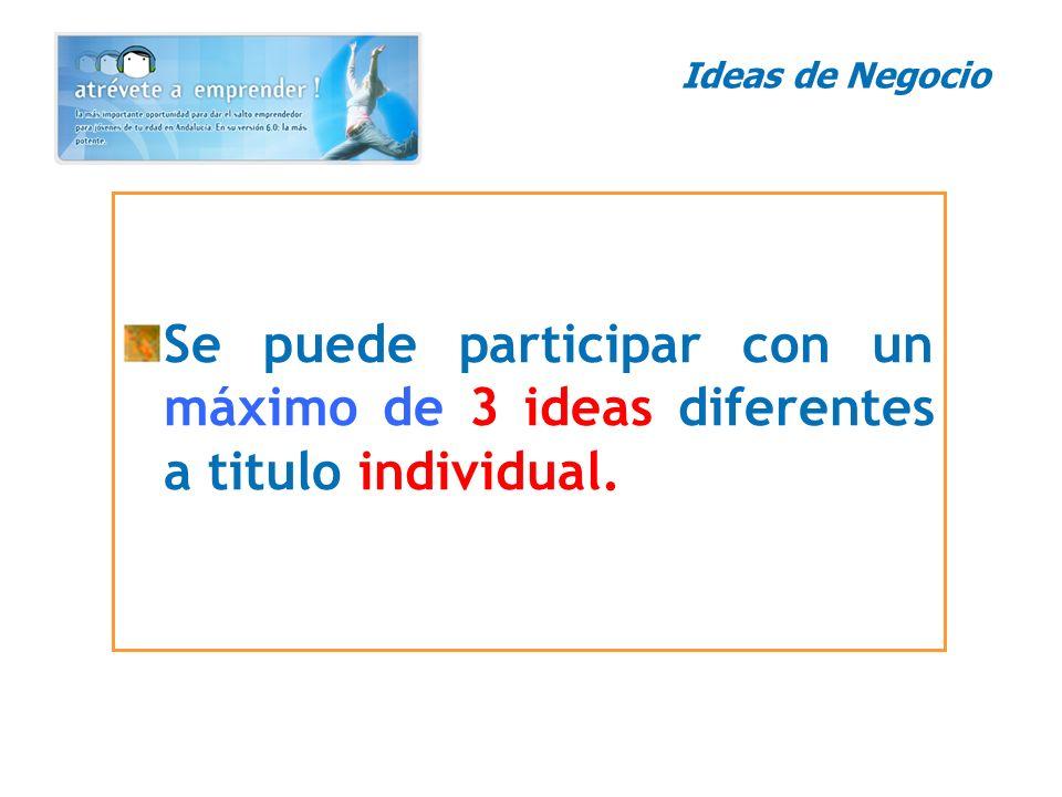 Se puede participar con un máximo de 3 ideas diferentes a titulo individual. Ideas de Negocio