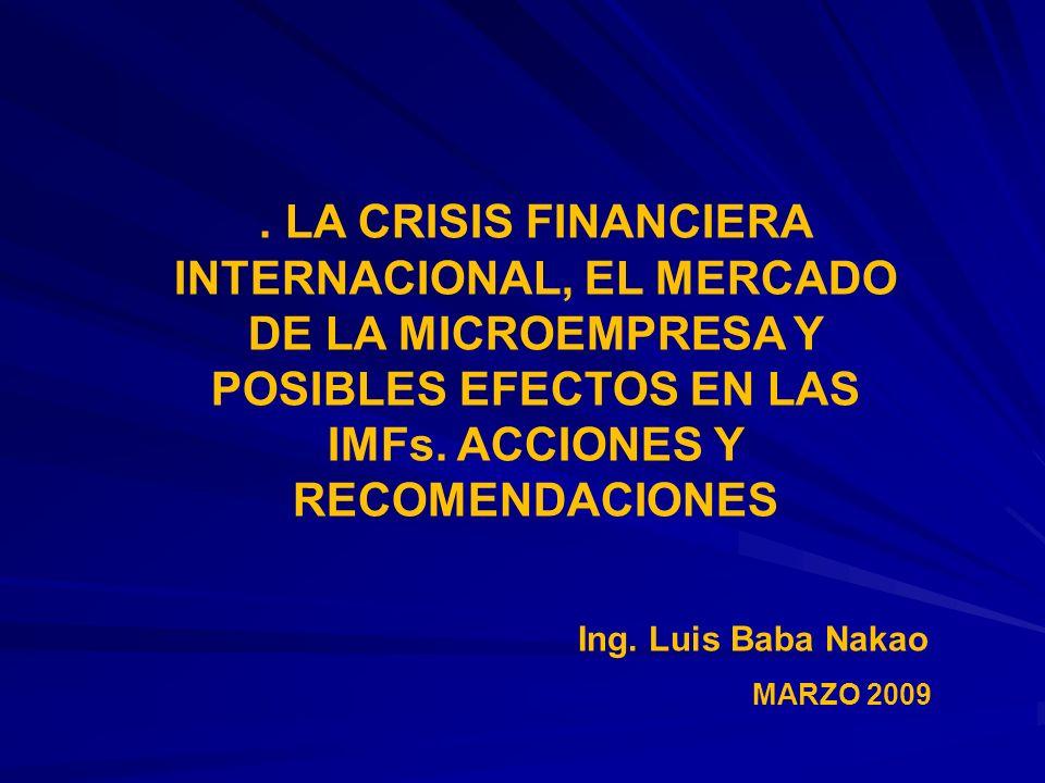 MARZO 2009 Ing. Luis Baba Nakao. LA CRISIS FINANCIERA INTERNACIONAL, EL MERCADO DE LA MICROEMPRESA Y POSIBLES EFECTOS EN LAS IMFs. ACCIONES Y RECOMEND
