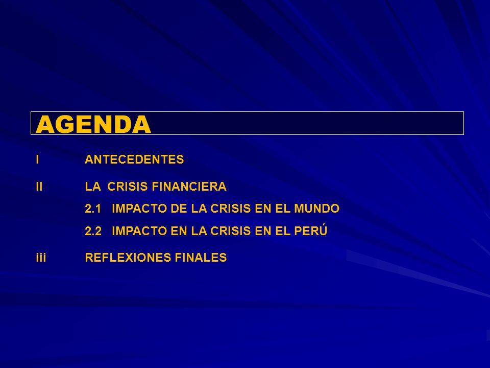 AGENDA IANTECEDENTES IILA CRISIS FINANCIERA 2.1 IMPACTO DE LA CRISIS EN EL MUNDO 2.2 IMPACTO EN LA CRISIS EN EL PERÚ iiiREFLEXIONES FINALES