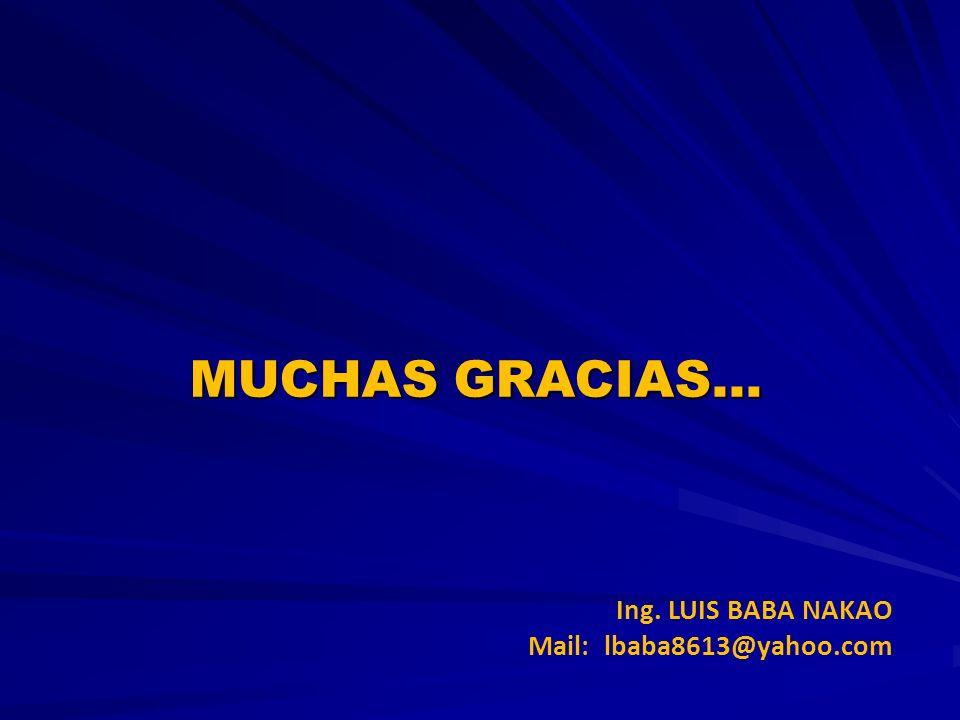 MUCHAS GRACIAS… Ing. LUIS BABA NAKAO Mail: lbaba8613@yahoo.com