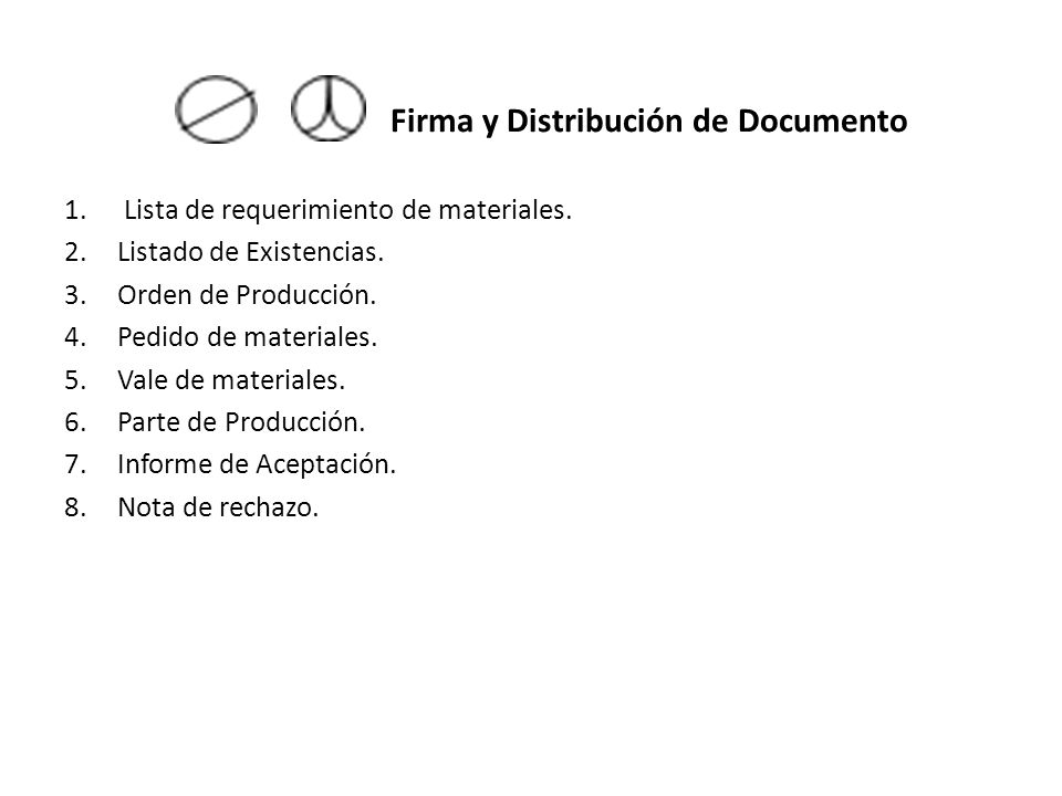 Firma y Distribución de Documento 1.Lista de requerimiento de materiales. 2.Listado de Existencias. 3.Orden de Producción. 4.Pedido de materiales. 5.V