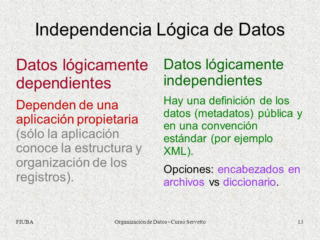 FIUBAOrganización de Datos - Curso Servetto13 Independencia Lógica de Datos Datos lógicamente dependientes Dependen de una aplicación propietaria (sól